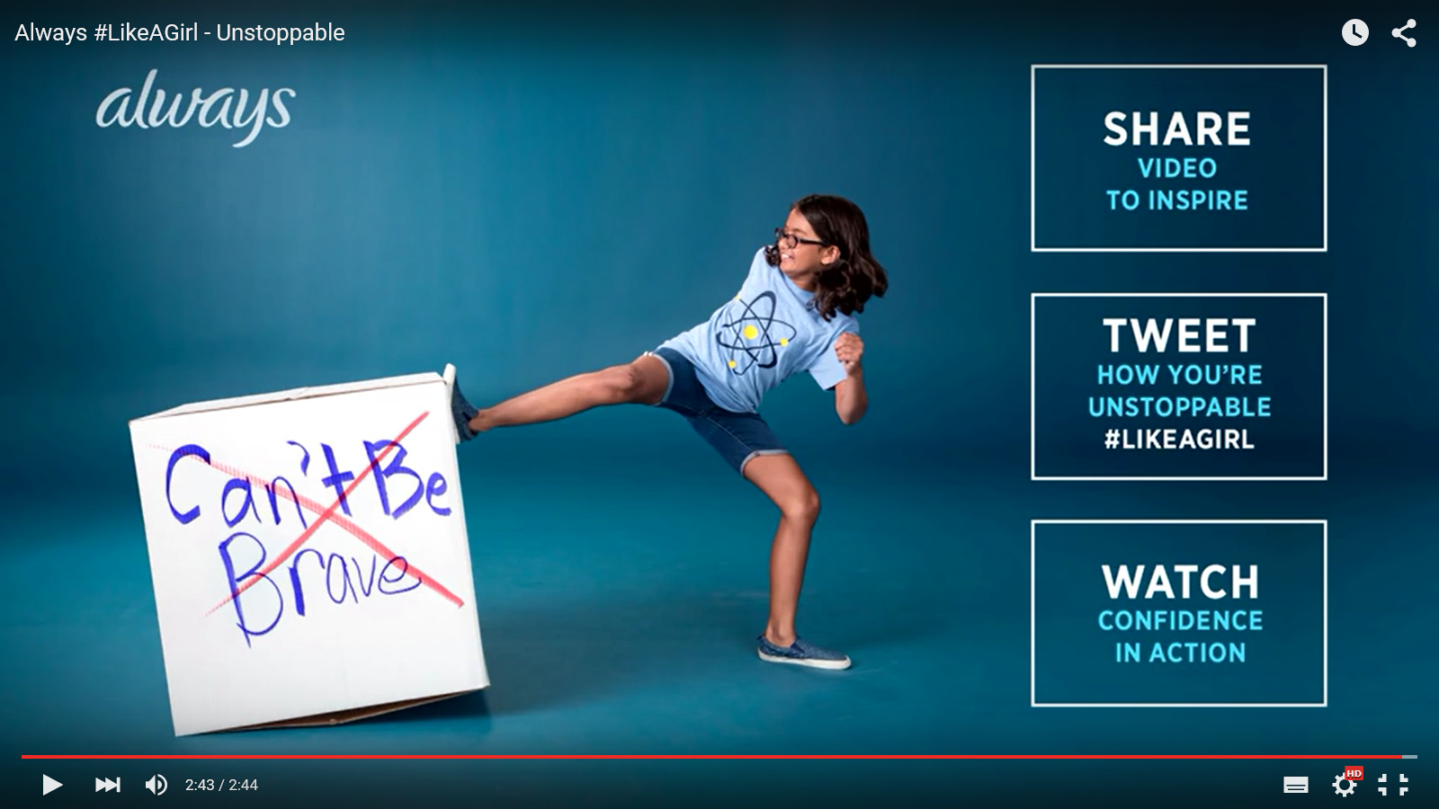 Always #LikeAGirl Unstoppable advert